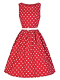 Lmeison Women's Classic Audrey Hepburn Chiffon Polka Dot Swing 50's Party Dress