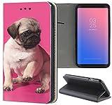 Samsung Galaxy A3 2016 Hülle Smart Flipcover Schutzhülle Case Handyhülle für Samsung Galaxy A3 2016 (1549 Mops Welpe Hund Pink Braun)