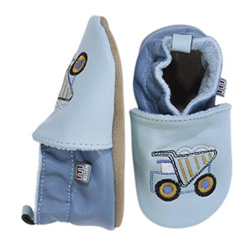 Melton Krabbelschuh - Kipper, Chaussons pour bébé bébé garçon Multicolore - Mehrfarbig (Pastel Blue 223)