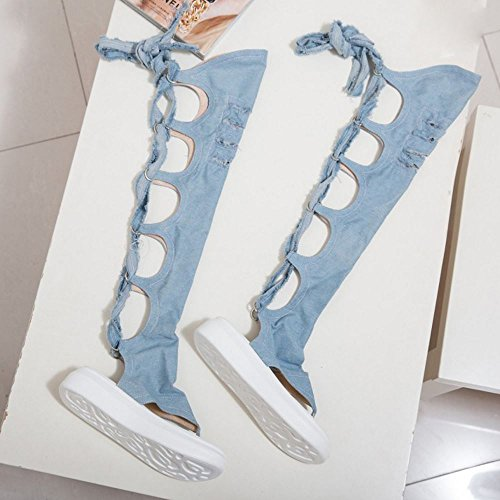 TAOFFEN Damen Thigh High Over Knee Denim Flip-Flops Plateau Absatz Sandalen 957 Hell Blau