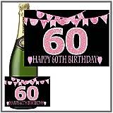Eternal Design Flaschenetikett zum 60. Geburtstag Champagner... pink glitter