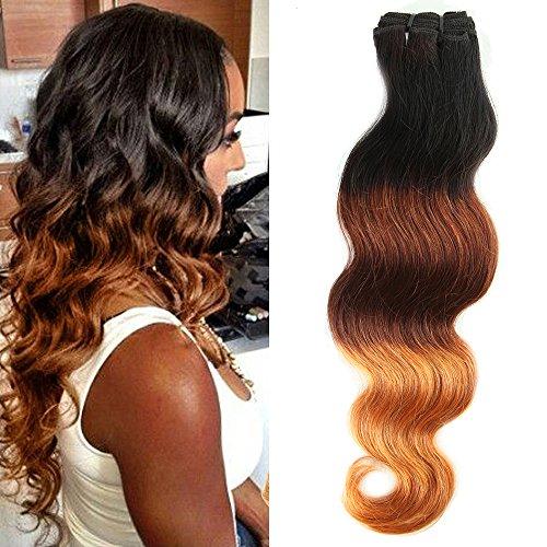 My-Lady® Tissage Bresilien Meches Bresiliennes Cheveux Naturel Dégradé - Extensions Cheveux - Grade 7A Brazilian Virgin Remy Hair Ombre (#1B Noir Naturel+#33 Auburn+ #27 Blond foncé) - 16\\