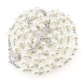 Rosenkranz aus weißen Perlen Schmuck 56 cm