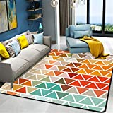 Mengjie Modern Hochflor Shaggy Teppich Rechteckiger, Farbiger Karo-Samt für Wohnzimmer,Schlafzimmmer,Kinderzimmer,Esszimmer,120 * 160CM