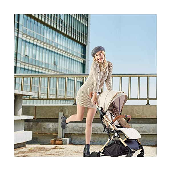 SONARIN Lightweight Stroller,Compact Travel Buggy,One Hand Foldable,Five-Point Harness,Great for Airplane(Dark Grey) SONARIN Size:Suitable from birth up to 25kg, length:66CM, width:48cm, height:98cm.Folding up:60CM*48CM*26CM. Great for Airplane,can be placed in any car boot. Safe:With sturdy aluminum alloy, compact body and five-point seat harness,each stroller has been pressure tested to provide security for each baby. Quality and Design:The backrest of the stroller supports sitting, half lying, lying,all three angles,lengthened and widened sleeping basket. Four wheel independent shock absorbing and built-in bearings make it smoother and quieter. 2