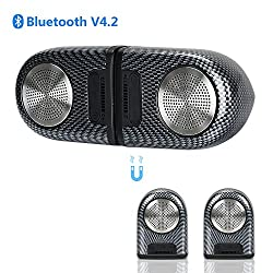 Portable Wireless Bluetooth Speakers,dual Magnetic Bluetooth V4.2 Hd Stereo Speaker Ipx5 Waterproof With 12-hours Playtime,enhanced Bass,two Using Modes,wide Compatibility For Outdoors Sports Activity & Indoors Leisureparty