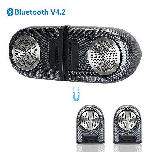 Foto de Altavoces Bluetooth 4.2 Subwoofer Inalámbrico Portátil con Acoplamiento Magnético, Estéreo Premium y 8 Horas de Reproducción, Altavoz Portátil IPX5 Impermeable para iPhone, iPad, Android Smartphones