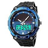 Männer Mode Solar Uhr Wasserdicht Doppelmaschine Elektronisch Trend Outdoor Sport Student Uhr,Blue
