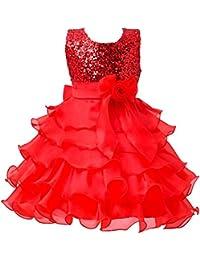 Vestido de Tul Vestido de Baile de Ceremonia Boda y Fiesta con Lentejuelas para Niñas Rojo