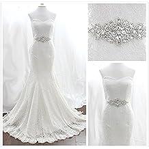 TRLYC Marfil Rhinestone Apliques para Boda Sash boda Cinturón de cuentas Pearl? ivory ribbon