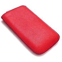 Emartbuy Red Textured Pu-Leder-Tasche / Case / Sleeve / Halter (Klein) Mit Pull Tab Mechanismus Für Sony Ericsson Zylo