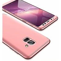 Funda Samsung Galaxy A8 Plus 2018 Case Lanpangzi 3 en 1 Combinación [Protector de Pantalla de Vidrio Templado] Silicona TPU 360 Grados de Protección Anti-Golpes Protectora Cover - Oro Rosa