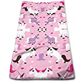 DAICHAI Pink Unicorn Horse Love Pink Girls Cool Towel Beach Towel Instant Cool Ice Towel Gym Quick Dry Towel Microfibre Towel Cooling Sports Towel for Golf Swimming Yago Football Beach Garden Holiday