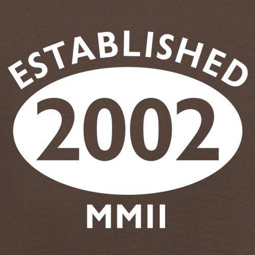 Gegründet 2002 Römische Ziffern - 15 Geburtstag - Herren T-Shirt - 13 Farben Schokobraun
