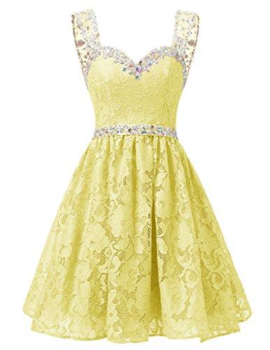 Dresstells Damen Herzform Ausschnitte Spitze Kurz Cocktailkleid Homecoming Kleider Gelb
