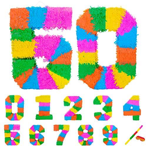 Fax Potato Pinata Set mit Stick & Blindfold - 50. Geburtstag/Jahrestag - Rainbow