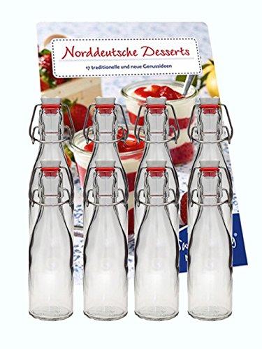 hocz 20er Set Leere Bügelflaschen Bügelflasche Glasflaschen 200ml mit Bügelverschluss zum Selbstbefüllen inklusive Drahtbügel Saftflaschen Milchflaschen Saft Likör - Flaschen Bier Leere
