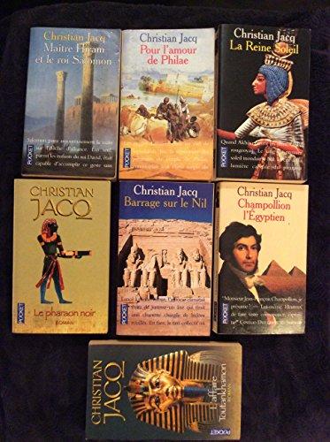 Lot de livres Christian Jacq La reine soleil, Pour l'amour de Philae, Maître Hiram et le roi Salomon, Le pharaon noir, L'affaire Toutankhamon, Barrage sur le Nil, Champollion l'Egyptien