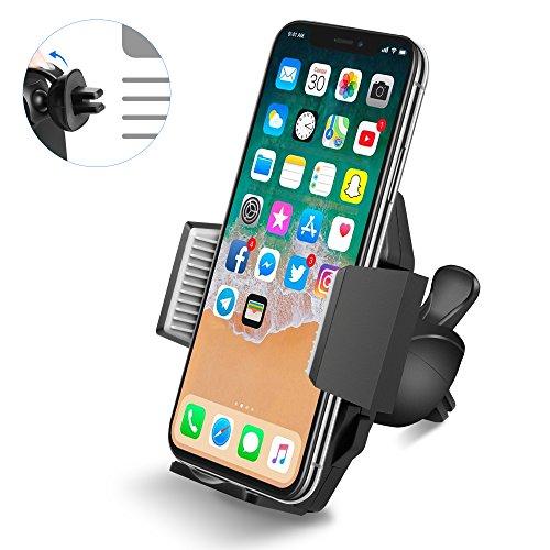 Support Telephone Voiture Ventilation Portable Quntis Auto Universel à Angle Réglable pour iPhoneX/8/8Plus/6s/6/SE/5/5s SamsungGalaxyGalaxy S8/S7/S7edge/a5/Note,Nexus,LG,Sony,Android Smartphones