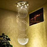 Wenrun Lighting Treppen Wohnzimmer GU10 LED 3 Helligkeit K9 Kristall und Chrom Spiegel Edelstahl Kronleuchter Deckenlampen Hängelampe Lüster Leuchte Lampen Licht Mit LED Glühbirne und Fernbedienung (D30cm x H100cm)