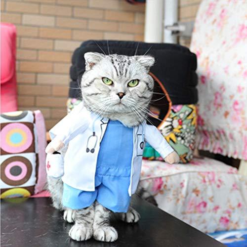 Doktor Kostüm Kleine Hunde - XDYFF Pet Bekleidung Kleine Hunde Katzen Modeänderung Mit Dem Lustigen Doktor, Der Kostümkleidung Für Das Gehende Jogging Steht,L