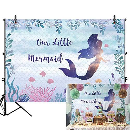 n 1. Geburtstag Neugeborenes Baby Dusche Hintergrund Unter Meer Meerjungfrau Thema Prinzessin Mädchen Geburtstagsfeier Banner Lila Glitter Meerjungfrau Dessert Kuchen Requisiten ()