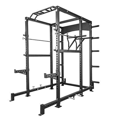GORILLA SPORTS® Power-Rack Schwarz mit Stahlrahmen - Kraftstation bis 400 kg belastbar + höhenverstellbar
