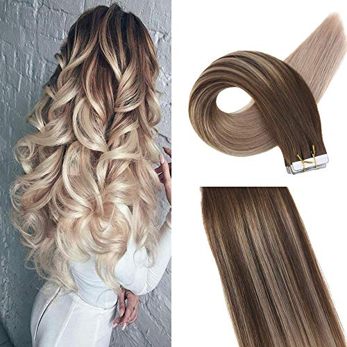 Easyouth Tape Extensions Echthaar Ombre 50g 16 Zoll Farbe #4 Mittelbraun Fading To #18 Aschblond Double Sided Tape For Hair Extensions Glue In Hair