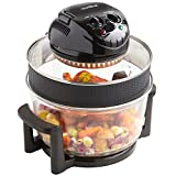 VonShef Premium 12L Black Halogen Air Fryer Oven 1400W, Includes 8 Accessories, Timer