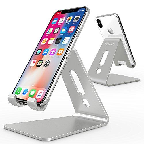 OMOTON Support Téléphone Portable, Stand/Support De Bureau Pour E-readers, iPhone 8, 7 5S 6S,7 Plus, Huawei, Samsung A3 A5 S7 S8 Note 8 , Nintendo Switch En Aluminium - Argent