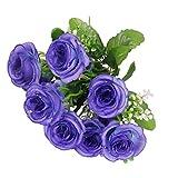 Sharplace Seidenrosen Rosen Brautstrauß Blumenstrauß Künstlicher Rosenstrauß Hochzeit Deko Künstlicher Rosenstrauß - Blau, 35cm