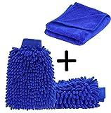 ecom delivery  Autowaschhandschuh Mikrofaser zur Autoreinigung (2 Stück) und Mikrofaser Trockentuch (Extra groß: 70x30cm)   Wasserdicht   Autoreinigungsset zur Autowäsche (2X Handschuh+1x Tuch)