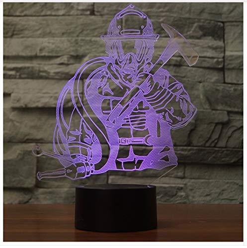 Geschenk Led 3D Feuerwehrmann Modellierung Usb Nachtlichter Feuerwehrmann Schreibtischlampe Wohnkultur 7 Farben Ändern Schlaf Beleuchtung Kinder (Erwachsene Rot Feuerwehrmann Hut)