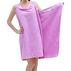 Toallas de Baño, albornoz toalla Wearable, toalla piscina playa mujer Sexy ducha, absorbente Seco Rápidamente Super Suave, albornoz toallas microfibra todo en uno. (púrpura)