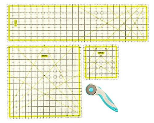 Premium Quilting Rule Set X3rutschfeste transparent Acryl Quilters Zoll Herrscher 61cm/31,8cm/16,5cm mit gratis Rollschneider 45mm Klinge für das Handwerk & patchworking Stoff von Doc Crafty.