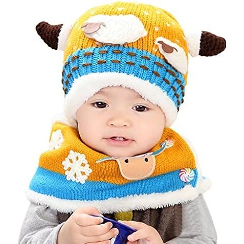 Tefamore sombrero del bebé + bufanda De dos piezas oveja además de terciopelo manga del casquillo tejidos Sombrero suave encantador Para Niños Niño Chica