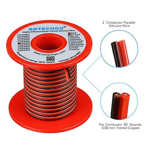 bntechgo 22Gauge Flexible 2Leiter Parallel Silikon Draht Spule rot schwarz High Resistant 200°C 600V für Single Color LED Streifen Verlängerungskabel, Modell, Blei Draht 25Ft gestrandet Kupfer Draht