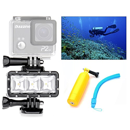 Orsda Video Tauchlampe 30M Wasserdicht 3W 3 LED Tauchlampe Videoleuchte+ Schwimmender Handgriff Griff 300LM für GoPro Hero 4 3+ 3 Sport Kamera Schwarz Auftriebsstange (Video-kamera Hero)