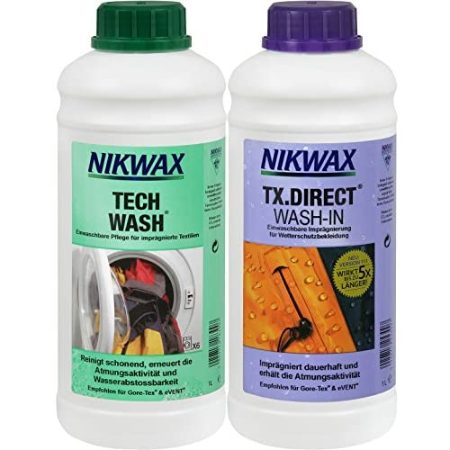 51HseP6wvuL. SS500  - Nikwax Tech Wash detergent + TX Direct impregnation, 2 x 1 litre for functional clothing.