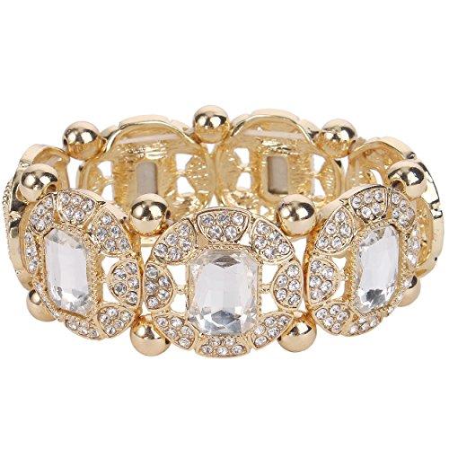 EVER FAITH Damen Österreichische Kristall Oval Braut elastisch Stretch Armband Klar Gold-Ton