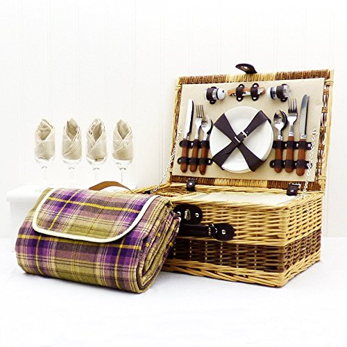 buxton-4-person-wicker-picnic-basket-with-purple-tartan-waterproof-blanket-gift-ideas-for-birthday-w