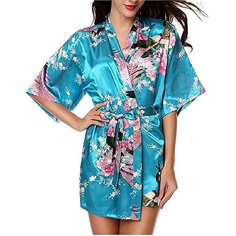 LIUDOUTraje de baño de camisón corto mujer seda , blue , xxl