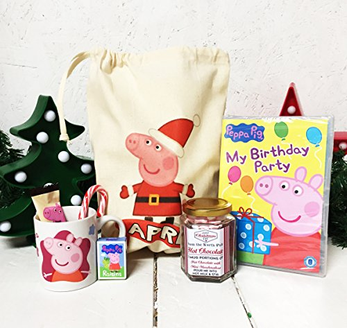 Personalisierte Peppa Pig Christmas Eve Pre gefüllt Geschenk Tüte DVD, Peppa, Hot Chocolate Tasse, Candy Cane