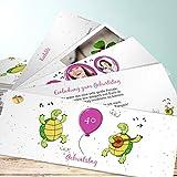 Einladungskarten 40 Geburtstag, Schildkrötenparty 200 Karten, Kartenfächer 210x80 inkl. Umschläge, Rot