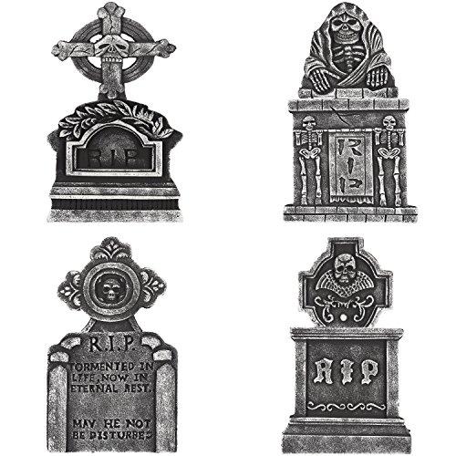Prextex 4er-Pack Halloween Dekor 58cm leichter Friedhofsgrabsteine aus Schaumstoff für Ihre Halloween Dekoration (Leicht Dekoration Halloween)
