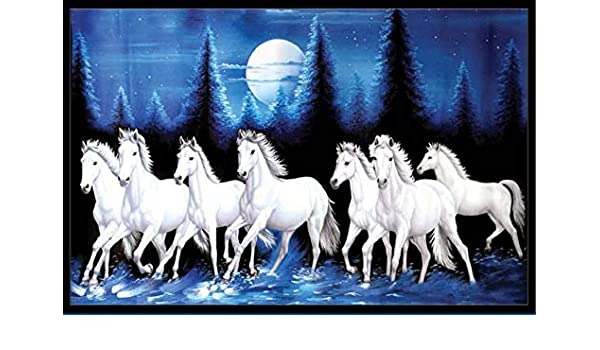 White 7 Horse Running Vastu Poster Wallpaper By Include