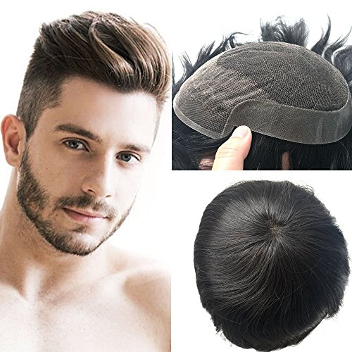 pancy Echthaar Französische Spitze Toupee für Männer mit Lace-Haarteil mit Perücke
