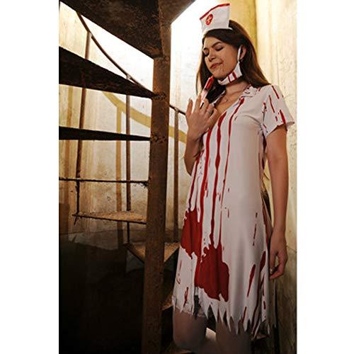 Finsink Zombie Bloody Krankenschwester Kostüm mit Kleider Maske -