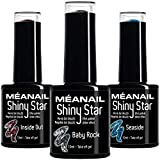 MEANAIL Smalto Semipermanente • Smalto UV Gel Glitter con Brillantini Smalto Olografico • 3 Colori : Rosa, Blu e Argento • Gel Polish Semipermanente 10 ml • Norme CE Europee