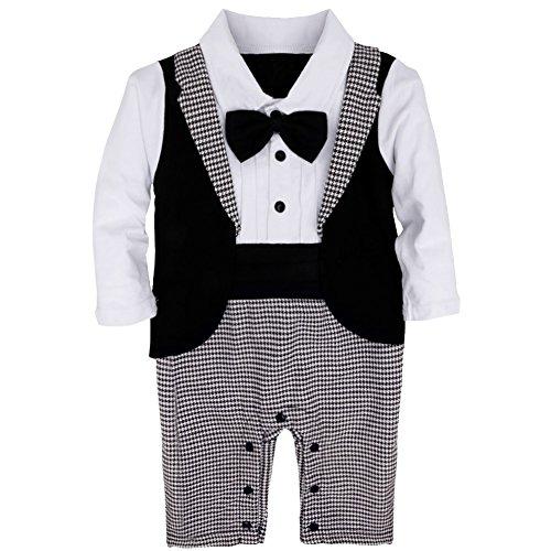 YiZYiF 1tlg Baby Strampler Smoking für Jungen Kleinkind Gentleman Kleidung Langarm Body Taufe Hochzeit mit Bowknot, Schwarz&Weiß, 80 ( 9-12 Monate )